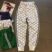 GUCCI new pattern knitting jacquard leisure pants men's bundle foot sports pants lovers' four-color pairs