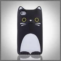 CellXpressions Flexa Kitty Cat silicone soft case cover for Apple iPhone 4 4G 4S - Black and White