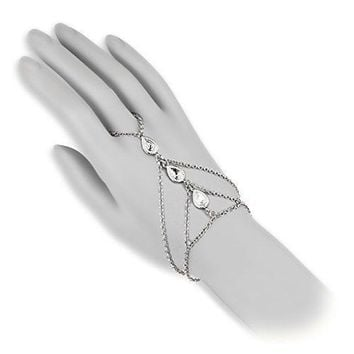 BodyJ4You Hand Bracelet Finger Ring Slave Chain Tear Drop Steel Fashion Jewelry 2PCS