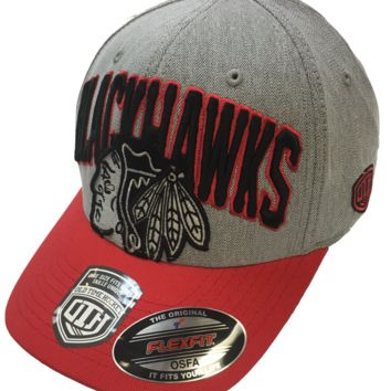 Men's Chicago Blackhawks Chopper Structured Baseball Flexfit Hat, Grey-Old Time Hockey