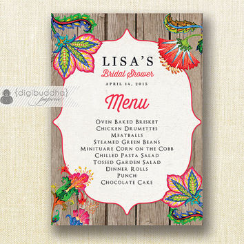 Tropical Flowers Menu Rustic Barn Wood Bridal Shower Menu Wedding Shabby Chic Hens Party Bold Modern Printable Digital or Printed- Lisa