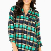 MYLES PLAID BLOUSE IN TEAL