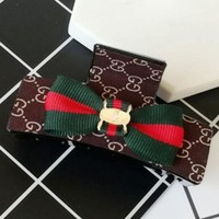 ESBYV2 GUCCI red and green cloth cloth grasping clip G-shaped classic fabric hair clip hairpin Noble brown