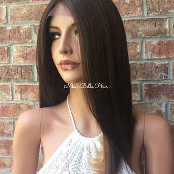 A Cut Blunt Edge BOB Human Hair Blend Multi Parting lace front wig 16""