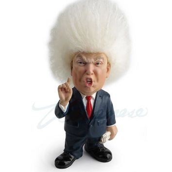 Donald J Trump Cartoon Figurine with Wild Hair which can be Combed Doll 5.2H