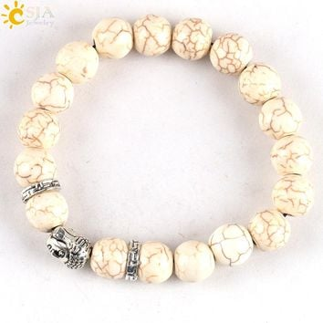 CSJA Unisex Alloy White Howlite Stone Beads Bracelet Bangles European American Trendy Men Women Jewelry Shopping Online Hot E127
