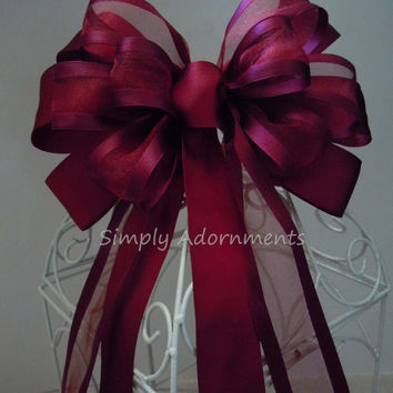 Wine Red Wedding Bow Fall Burgundy Wedding Chair Bow Wedding Church Aisle Ceremony Decorative Bow