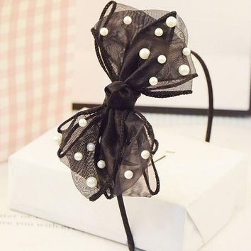 bohemian vintage black lace big bow with cream pearl headband hairband hair accessories