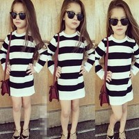 Kids Girls Dress Stripe Long Sleeve Dress Kids Girls Casual Sundress Children Clothes drop ship