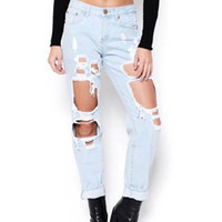 Light Blue High Waist Ripped Straight Jeans