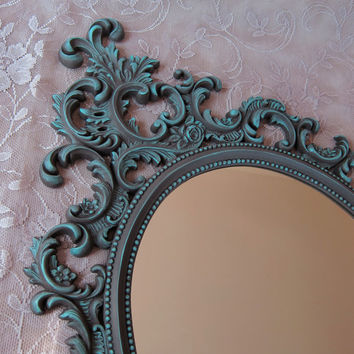 Vintage Burwood Ornate Oval Wall Mirror Taupe and Aqua