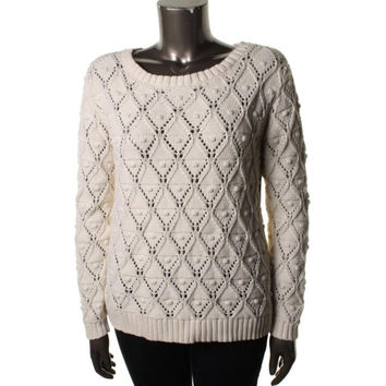 Tommy Hilfiger Womens Crochet Long Sleeves Pullover Sweater