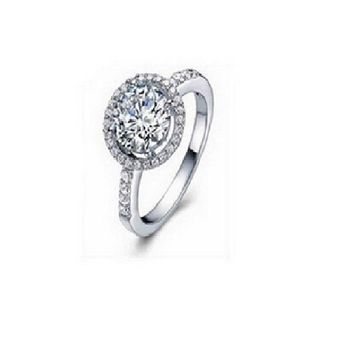 Silver Plated 4 Carat CZ Diamond Rings For Women