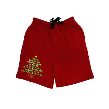 Deck the Halls Lyrics Christmas Tree Adult Lounge Shorts - Red or Black