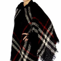 Plaid Poncho w/ Hoodie in 5 Colors