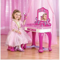 Kids,Toddlers Small Vanity Set w Stool n Mirror n Jewelry Storage