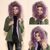 Warm Winter Coat Woman Jacket Outerwear Faux Fur Lining Women's Fur Jackets Parka Overcoat