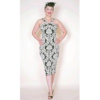Goddess Wiggle pin up dress in Damask Black & White