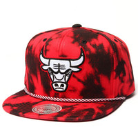 Chicago Bulls Red & Black Denim Snapback hat by Mitchell & Ness