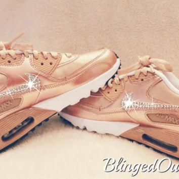 Womens Nike Air Max 90 Rose Gold with Swarovski crystals