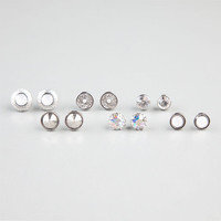 Full Tilt 6 Pairs Stud Earrings Silver One Size For Women 24243014001