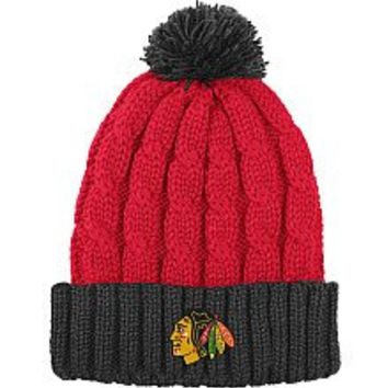 Reebok Chicago Blackhawks Women's Cuffed Knit Hat With Pom One Size Fits Most