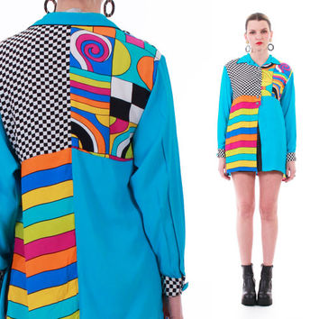 80s 90s Vintage Colorful Abstract Silky Blouse Checkered Bright Hipster Hip Hop Button Down Shirt Womens Size Medium