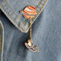 Shuangshuo Vintage Satellite Pins and Brooches for Women Large Brooches Astronaut Enamel Pins Fashion Lapel Pin Brooch Jewelry