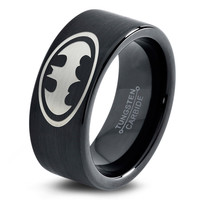 Batman Ring Comics Ring Fathers Day Gift Mens Fanatic Superhero Boys Girls Womens Jewelry Batman Ring Comics Ring Fathers Day Gift Tungsten Carbide 21