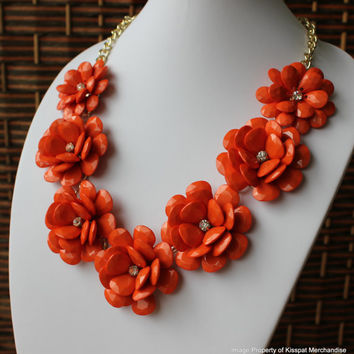 Orange Statement Necklace,Jcrew Style Floral Jewelry,Autumn Necklace, Women's Gift, Free Gift Box Packaging Available