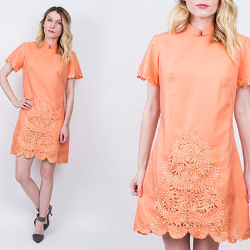 vintage 70s sherbet orange embroidered midi dress ORIENTAL structured floral pastel shift tunic scallop boho