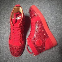 DCCK Cl Christian Louboutin Rhinestone Mid Strass Style #1916 Sneakers Fashion Shoes