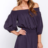 Glamorous Do-si-do Navy Off-the-Shoulder Dress