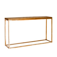 Plankton Distressed Wood Top Console | Gold