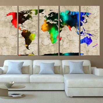 rustic world map canvas print, vintage world map wall art, large canvas print, extra large wall art, world map canvas art print t410