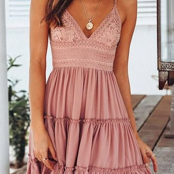 92c47ff64e67 Pink Patchwork Lace Ruffle Spaghetti Strap Bow Deep V-neck Graduated  Homecoming Party Mini Dress