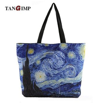 TANGIMP 2017 New bayan canta Van Gogh Handbags Starry Night Sky Printed Tote Bags for Women Single Shopping Shoulder Beach Bags