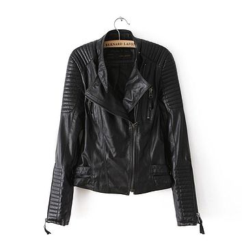 Motorcycle Leather Jacket Ladies Autumn Coat Zipper Cool  Overcoat Women Leather Jeans Brand Fall Spring Clothing