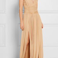 Balmain - Ruched stretch-jersey gown