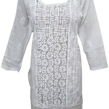 Mogul Womens Embroidered Tunic Blouse White Cotton Short Kurti Dress