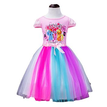 2-8 Yrs Big Kids My Little Girls Dress Ponys Summer Girl Rainbow Dresses girls princess For Children Costume Vestidos