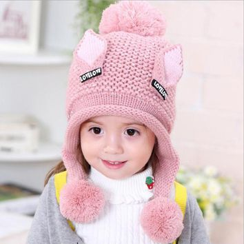 2017 Plus velvet boys Beanies Cat ears wool solid Winter Baby Child knitted hat kids girls Earflap Caps Age for 2-6 years old