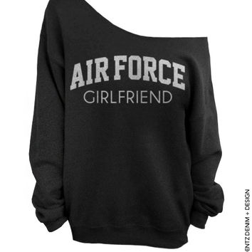 Air Force Girlfriend - Black with Silver Slouchy Oversized Sweatshirt