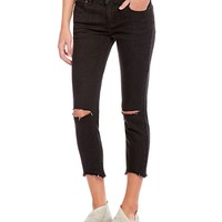 Free People Frayed Hem Destroyed Skinny Ankle Jeans | Dillards