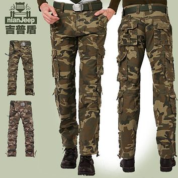 High Quality Men Pants Brand Jeep Cargo Pants 100% Cotton Men Camouflage Military Pants Outdoors Casual Pants Male trousers MP03