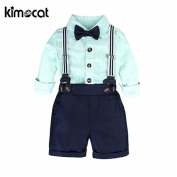 Kimocat Autumn Spring Newborn Baby Boy Clothes Bow Tie Gentleman Boys Clothing Set Toddler Kid Formal Party Bow Bodysuit Set