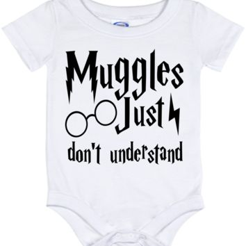Cute Harry Potter Muggles Don't Understand Onesuit - all sizes from (New born - 24 months)