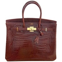 HERMES 35cm Red Orange Birkin Bag