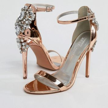 ASOS HIGH ROLLER Embellished Heeled Sandals at asos.com