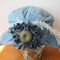 "90s Grunge Slouchy Denim Sunflower Bucket Hat, Funky ""Blossom"" Hat -- BARGAIN PRICED!"